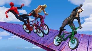 EXTREME RACES! (Funny Superhero Contest Videos w/ Harley Quinn Joker Spiderman BMX CARS Motorcycles)